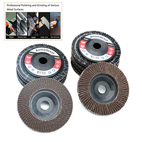 """Anmeilexst 10 Packs 5/8"""" 80 Grit and 320 Grit High Density Calcination Alumina Flap Disc Abrasive Wheel, 4"""" Diameter, for Polishing Metal, Stainless Steel and Wood"""