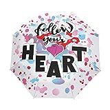 Follow Your Heart - Paraguas de viaje compacto, para el aire libre, lluvia, sol, coche plegable, resistente al viento, toldo reforzado, protección UV, mango ergonómico, apertura y cierre automático