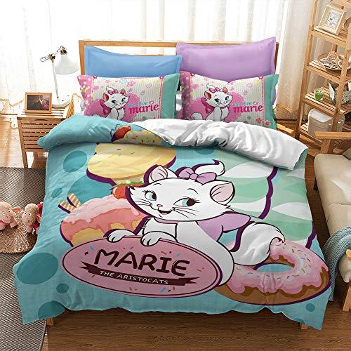 Disney Marie Cat Duvet Cover Set - Duvet Cover and 1/2 Pillow Cases Microfibre 3D Digital Print 2/3-Piece Bedding Set (Marie7,Double)