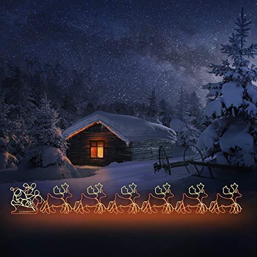 6 Rentiere mit Schlitten Beleuchtet Außen und Innen aus Lichterschlauch Kettenlänge 60m Weihnachtsbeleuchtung Weihnachtsmann XXL 2160 LEDs Beleuchtet Weihnachten Lichterkette Weihnachten Deko