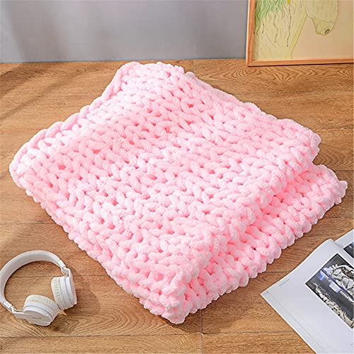 SWECOMZE Manta de punto, manta de punto grueso de lana hecha a mano para cama, silla, sofá, cálida y suave, colección otoño-invierno (rosa, 60 × 80 cm)