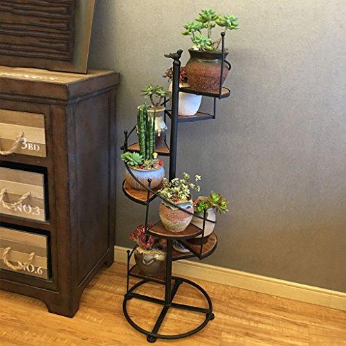 TtYj-- Soporte de flores multifuncional, soporte para plantas en forma de escalera, soporte para plantas de acabado multicapa (color: negro, tamaño: 1 m)