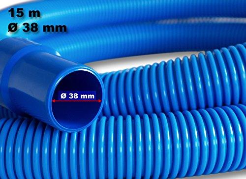 Wiltec 15m - 38mm - Schwimmbadschlauch Feste Muffen Eva Flex Pool blau 250g/m - Made in Europe