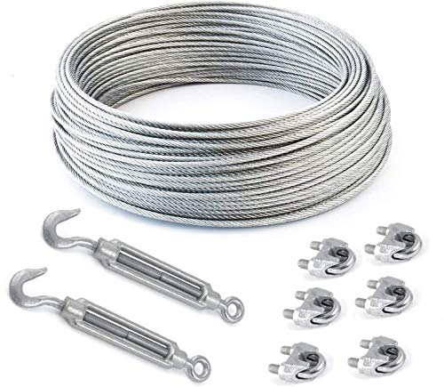 SET steel wire rope galvanised 3mm strand: 6x7 + 6 clips + 2 turnbuckles hook-eye - many sizes avaliable… (30m)