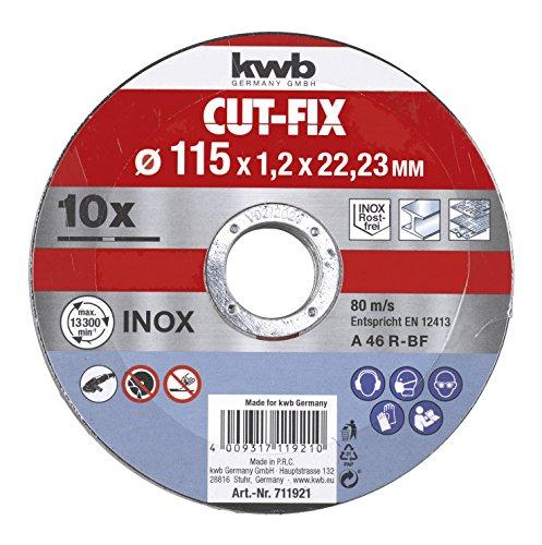 KWB 49711921 Juego de 10 discos cut fix, metal, 115 x 1,2 mm
