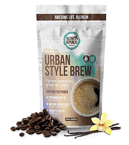 Urban Style Brew (Vanilla) - Premium Instant Koffee mit ⍟ MCT-Öl - Kollagen Peptiden - Inulin ⍟ Collagen Drink - Bulletproof Coffee - KetoUp - Keto Drink