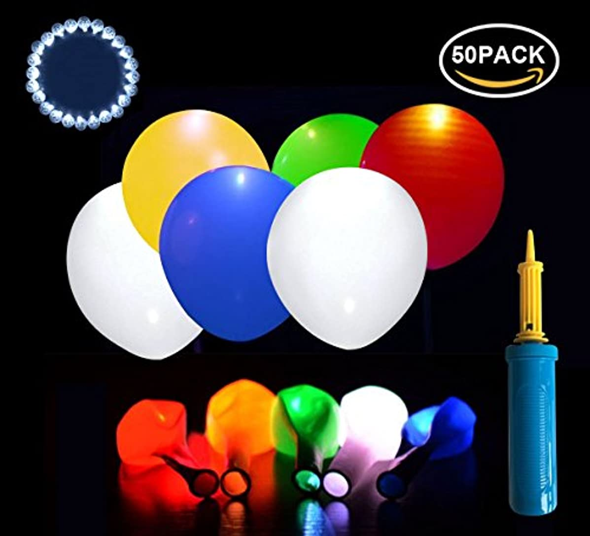 Neo LOONS 12 inch Assorted Color Premium Latex Balloons with White Round Led Ball Lamp Balloon Lights for Wedding Birthday Party Anniversary Decoration (50 Balloons & 50 LED lights & 1 Balloon Pump)
