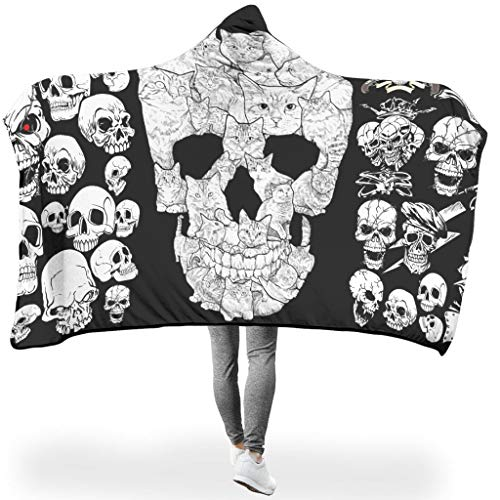 Dofeely Skull PersonalityWearable Tapisserie Hooded Blanket Microfaser Soft-Mantel Decke Winter TV Computer Badetuch Für Kinder White 150x200cm