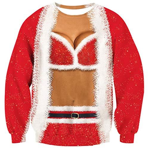 Goodstoworld unisex 3D jultröja tröja tröja rolig jul djur alf tryckt långärmad t-shirt S-XXL