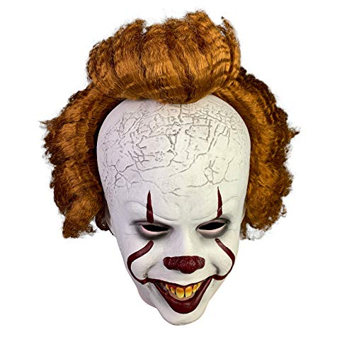 Halloween Scary Clown Mask Evil Joker Mask Costume Cosplay Props With Thick Brown Wig For Adult Teens (smile)