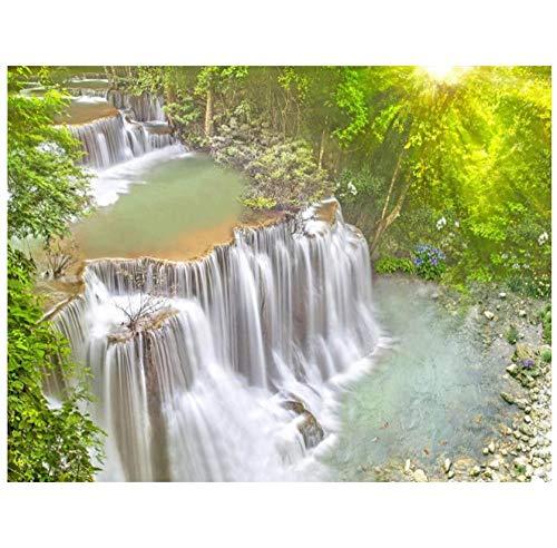 muurschilderingen huis decoratie bos waterval zonlicht landschap HD 3D vloer muurschildering zelfklevende PVC slaapkamer woonkamer badkamer vloer sticker 450(w)x300(H)cm
