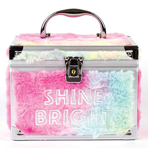 """Three Cheers for Girls - """"Shine Bright"""" Pastel Fuzzy Train Case - Lockable Cosmetic Case for Girls - Travel Case for Makeup, Jewelry, Keepsakes & More - Includes 2 Keys - Measures 7.8"""" x 5.9"""" x 6.1"""""""
