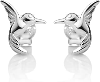925 Sterling Silver Tiny Little Flying Hummingbird Bird Lovers Post Stud Earrings 7x9 mm