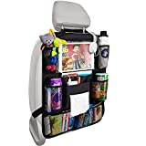 Car Back Seat Organizer Foldable Car Storage Organizer Car Seat Back Protectors with Hole for USB/Headphone/Charging Kick Mats Back Seat Protector with Touch Screen Tablet Holder Tissue Box