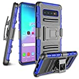 for Galaxy S10 Case, S10 Cover, Zectoo Heavy Duty Shockproof Full Body Rugged Armor Hybrid Holster Case Cover with Swivel Belt Clip & Kickstand for Galaxy S10 (6.1') - Blue