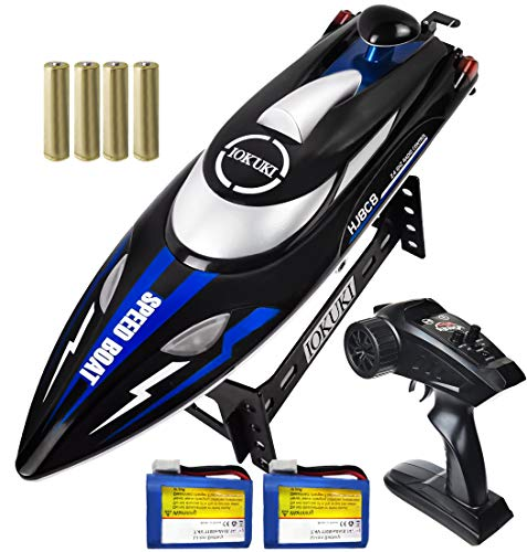IOKUKI 24Ghz RC Boat 20 mph High Speed Remote Control Boat for Kids amp Adults for Lakes amp Pools / 2 Rechargeable Batteries Low Battery Alarm Out of Range Prompt Capsize Recovery Blue
