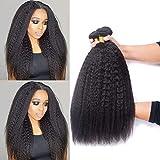 DAIMER Yaki Straight Hair Bundles Kinky Straight Human Hair 3 Bundles Natural Black 12 14 16 Inch Brazilian Virgin Human Hair Weave 3 Pcs 100% Unprocessed Remy Sew In Hair Extensions