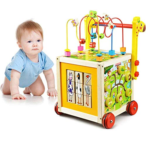 O-Toys 7 in 1 Wooden Toys for Kids Bead Maze Activity Cube Game Baby Walker for Toddlers Learning Educational Toy
