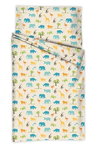 Kindertraum 5217012 Jungle Parure de lit pour enfant avec housse de couette 40 x 60 cm et taie d'oreiller 100 x 135 cm