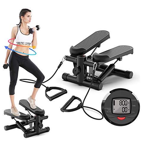 Step Fitness Casa, Macchine per Training Aerobico, Pedaliera da Casa Mini Stepper con Bande di Resistenza e Monitor LCD Multifunzione, Carico: 150KG (Nero)