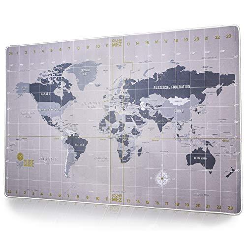 digitCUBE Vade de escritorio, diseño de mapa del mundo, brújula, 90 x 40 cm, color plateado