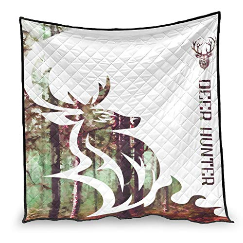 YshChemiy Deer Hunter - Colcha de algodón para el hogar (180 x 200 cm), color blanco