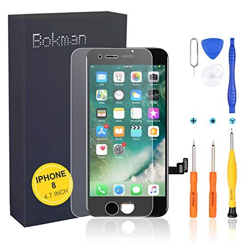 bokman Schermo Display LCD per iPhone 8 Nero, Touch Screen Digitizer Parti di Ricambio con Strumenti di Riparazione