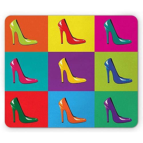 Muisonderlegger van hoge haken, extreem kleurrijk stokjesschoen-brutale retro pop-art-illicatie, rubberen mousepad, meerdere kleuren