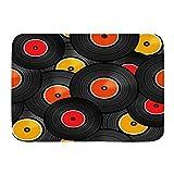 KENADVI Alfombras de baño,Rock Vinilo Discos de Audio Diseño LP Tecnología miscelánea Música DJ Roll Set Funky Mix Dance Record, Artículos de baño Felpudo, Antideslizante