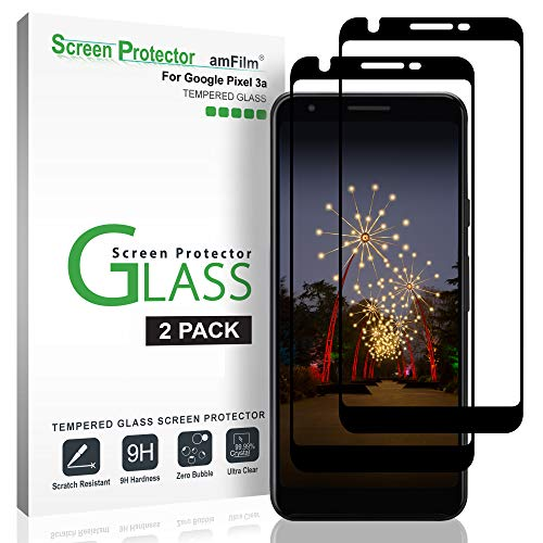 amFilm Screen Protector for Google Pixel 3a (2 Pack), Full Cover (3D Curved) Tempered Glass Screen Protector Film with Dot Matrix for Google Pixel 3a (Black)