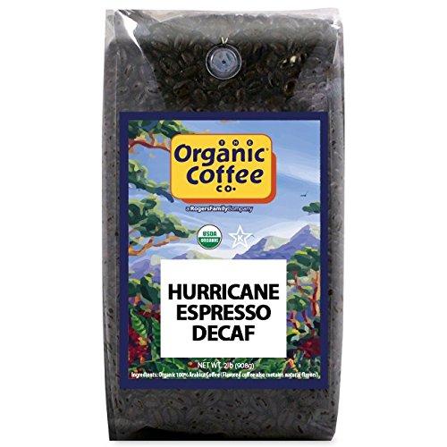 Organic Coffee Co. DECAF Hurricane Espresso Whole Bean Coffee 2LB (32 Ounce) Medium Dark Roast Natural Water Processed Decaffeinated USDA Organic