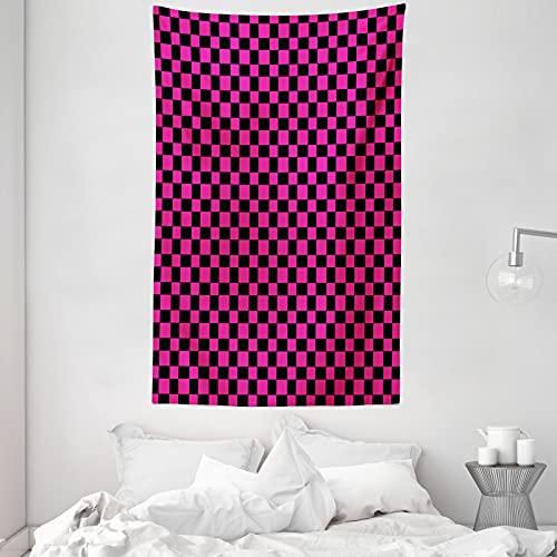 ABAKUHAUS Hot Pink Wandteppich & Tagesdecke, Vichy-Karos Vibrant, aus Weiches Mikrofaser Stoff Dreck abweichender Digitaldruck, 140 x 230 cm, Magenta Schwarz