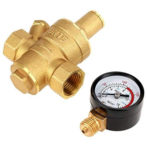 Allamp DN15 Cobre Amarillo Ajustable Regulador de presión de Agua Reductor con el calibrador del Metro Medida de Espesor