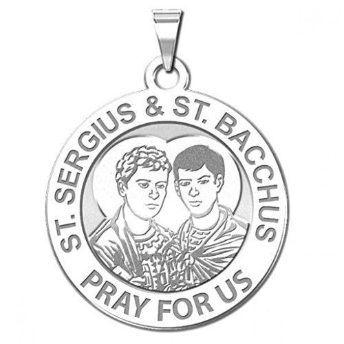 PicturesOnGold.com Saint Sergius and Saint Bacchus Religious Medal - 3/4 Inch Size of a Nickel in Sterling Silver