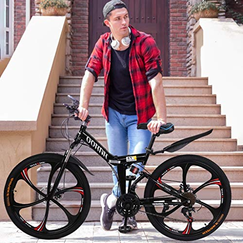 cobcob Folding Mountain Bike, 26 Inch Adult Mountain Bikes Portable Bicycle Steel Carbon Mountain Trail Bike for Travel and Leisure Activities Urban Riding and Commuting for Men/Women (Black)