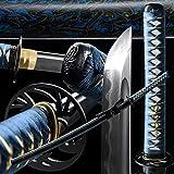 entez Katana Sword Japanese Samurai Sword,Full Handmade Battle Ready Katana Sword,Damascus Folded Steel Heat Tempered/Clay Tempered/Full Tang,Very Sharp