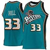 Camiseta De Baloncesto De Los Hombres De La NBA Detroit Pistons Grant Henry Colina 33 Respirable Cómodo De Deporte Retro Blue-L