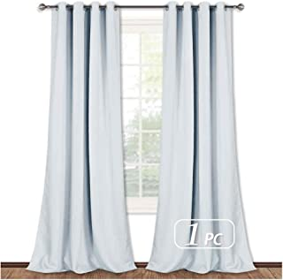 NICETOWN Room Darkening Long Curtain - (52 inches W x 108 inches, Greyish White, 1-Pack) Home Fashion Ring Top Thermal Insulated Window Treatment Drape for Nursery