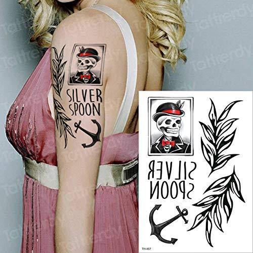 3 Piezas Etiqueta de Tatuaje a Prueba de Agua Letra de pájaro Tatuaje Negro Pierna Muslo Tatuaje Cuello Brazo Tatuaje Apliques