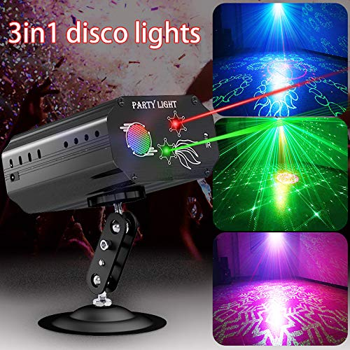 Party Lights Dj Disco Lights TONGK Strobe Stage Light Sound Activated Multiple Patterns Projector with Remote Control for Parties Bar Birthday Wedding Holiday Event Live Show Xmas Decorations Lights