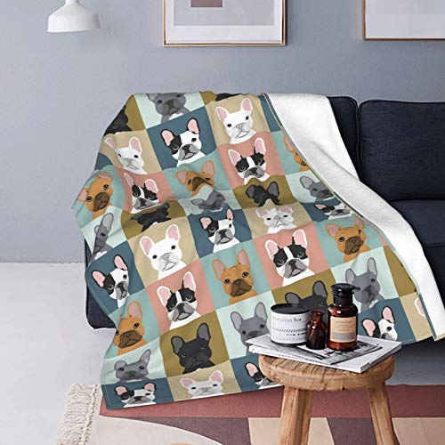 Soft Flannel Fleece Throw Blanket for Couch Chair Bed French Bulldogs Dog Fuzzy Lightweight Warm Cozy Plush Blanket 50 X 60 Inch
