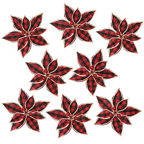 FUNARTY 12 Pieces Red Buffalo Plaid Poinsettias Christmas Tree Ornaments Artificial Christmas Flowers 6.7 Inch for Christmas Tree Wreaths Garland Holiday Decorations