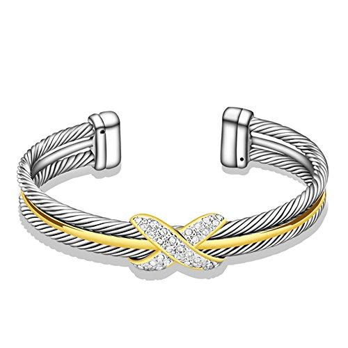 UNY Fashion Jewellery Designer Marke Inspiriert Zweifarbiges Armband Kabel Draht Inifinity Zeichen Armreif Manschette Elegant Schöne Valentins