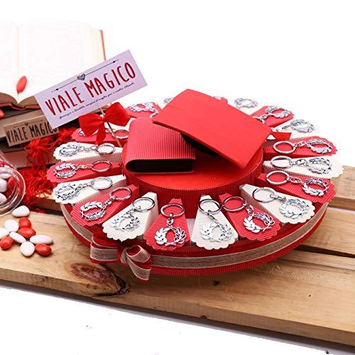 VialeMagico Bomboniera Laurea Corona d'alloro Torta Portaconfetti Satin TRG161P (Torta da 20 fettine)