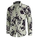 Camisas Hombres Manga Larga Casual Flor Camisas para Hombres Slim Fit Dress