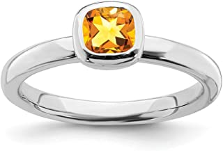 925 Sterling Silver Cushion Cut Yellow Citrine Band Ring Stone Stackable Gemstone Birthstone November Fine Jewelry For Women Gift Set