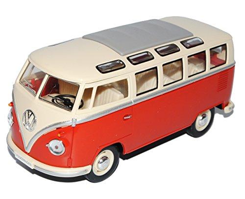 VW Volkswagen T1 Rot Weiss Samba Bully Bus 1950-1967 1/24 Modellcarsonline Modell Auto mit individiuellem Wunschkennzeichen