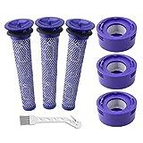 Wolfish Lot de 6 filtres de Rechange pour aspirateur Dyson V7 et V8 Absolute et Animal, 3 Post-filtres HEPA, 3 pré-filtres, pièce de Rechange # 965661 & 967478