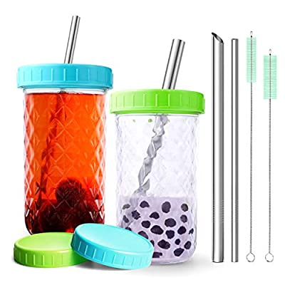 Reusable Boba Bubble Tea Smoothie Glass Drinking Jars Cups For Adults, For Kids,with 4 Lids and Cleaning Brush, 4 Metal Stainless Steel Reusable Straws (2-pack, 20oz each)