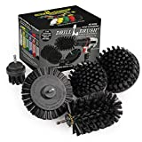 Drill Brush Power Scrubber by Useful Products - 4 Piece Black Drillbrush Ultra Stiff Cleaning Brush Set - Metal Brush for Drill Alternative - Grill Brush for Cordless Drill - Grill Grate Cleaner Brush